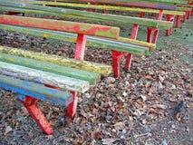 Montão do banco de madeira do vintage, área retro no parque, diversidade do outono, imagens de stock