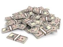 Montão do dinheiro Cinco dólares Imagem de Stock
