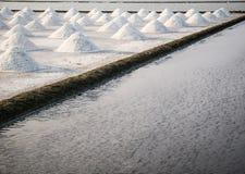Montão do sal no campo de sal antes da colheita Fotografia de Stock Royalty Free
