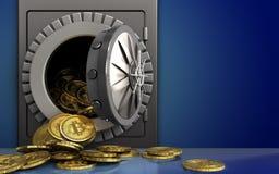 montão dos bitcoins 3d sobre o azul Fotos de Stock