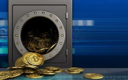 montão dos bitcoins 3d sobre o cyber Fotos de Stock Royalty Free