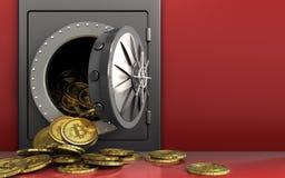 montão dos bitcoins 3d sobre o vermelho Foto de Stock Royalty Free