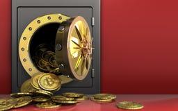 montão dos bitcoins 3d sobre o vermelho Imagem de Stock
