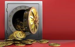 montão dos bitcoins 3d sobre o vermelho Imagens de Stock Royalty Free