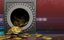 montão dos bitcoins 3d sobre o vermelho digital Foto de Stock Royalty Free