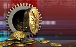 montão dos bitcoins 3d sobre o vermelho digital Fotografia de Stock Royalty Free