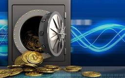 montão dos bitcoins 3d sobre ondas digitais Fotografia de Stock Royalty Free