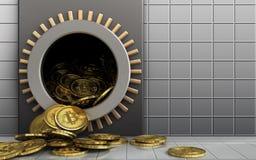 montão dos bitcoins 3d sobre a parede branca Fotografia de Stock Royalty Free