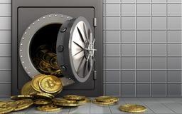 montão dos bitcoins 3d sobre a parede branca Fotos de Stock