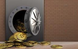 montão dos bitcoins 3d sobre a parede de tijolos Fotografia de Stock Royalty Free