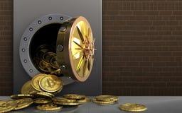 montão dos bitcoins 3d sobre tijolos Fotografia de Stock Royalty Free