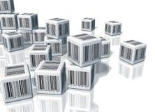 Montão dos cubos com códigos de barras Imagem de Stock