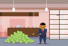 Montão dos dólares de Rich Asian Business Man With no conceito chinês do sucesso de Man Financial do negócio dos desenhos animado ilustração stock