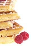 Montão dos waffles com framboesas Foto de Stock