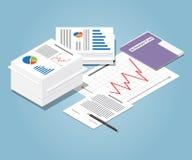 Montão isométrico de originais de negócio Conceito da burocracia Fotos de Stock