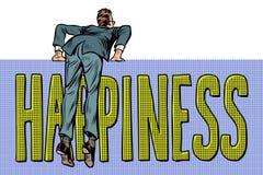 Montées d'homme d'affaires au-dessus de la barrière texte de mot de bonheur illustration de vecteur