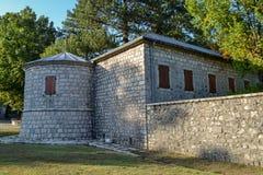 Monténégro - arbres sur une promenade pavée que cela mène au monastère de Cetinje photos stock