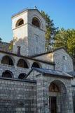 Monténégro - arbres sur une promenade pavée que cela mène au monastère de Cetinje photos libres de droits