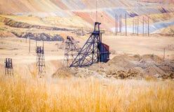 Montículo da mina de cobre de poço aberto, Montana, Estados Unidos Imagens de Stock