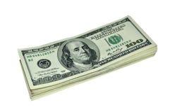 Montón de 100 billetes de banco del dólar Imagen de archivo libre de regalías