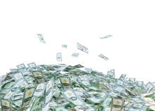 Montón de billetes de dólar en blanco ilustración del vector