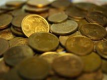 Montón de 5 centavos de euro Imagen de archivo libre de regalías