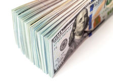 Montón de cientos billetes de dólar Fotografía de archivo