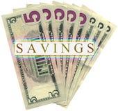 Montón de cinco dólares aislados, abundancia de los ahorros Imagenes de archivo