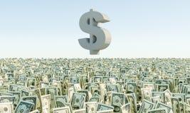 Montón de la hierba de los billetes de dólar del billete de banco Fotografía de archivo libre de regalías