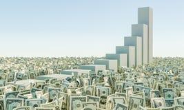 Montón de la hierba de los billetes de dólar del billete de banco en el cielo azul del fondo Fotografía de archivo libre de regalías