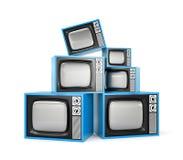 Montón de la TV retra Fotos de archivo libres de regalías