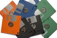 Montón de las diskettes del color Fotografía de archivo