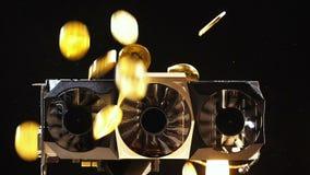 Montón de las monedas de la cámara lenta que pertenece a la caída de la moneda en refrigeradores almacen de metraje de vídeo