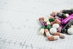 Montón de las píldoras de la medicina en el papel de la rejilla del cardiograma Imagen de archivo