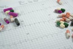 Montón de las píldoras de la medicina en el papel de la rejilla del cardiograma Fotos de archivo libres de regalías