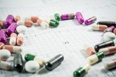 Montón de las píldoras de la medicina en el papel de la rejilla del cardiograma Imagenes de archivo