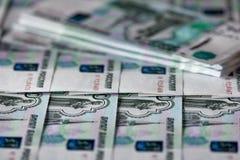 Montón de las rublos rusas Imágenes de archivo libres de regalías