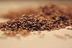 Montón de las semillas de lino en blanco Fotografía de archivo