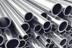 Montón de las tuberías de acero brillantes del metal con efecto de foco selectivo ilustración 3D Imagenes de archivo