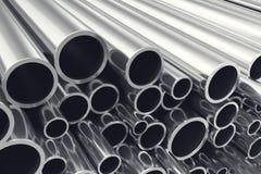 Montón de las tuberías de acero brillantes del metal con efecto de foco selectivo ilustración 3D Fotografía de archivo