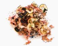 Montón de las virutas del lápiz Imagen de archivo libre de regalías