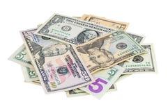 Montón de los billetes de banco del dólar Imagen de archivo libre de regalías