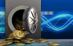 montón de los bitcoins 3d sobre ondas digitales stock de ilustración
