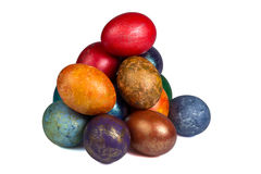 Montón de los huevos de Pascua pintados Foto de archivo libre de regalías