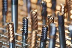 Montón de los taladros acabados del metal Foto de archivo libre de regalías