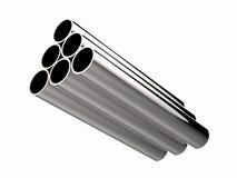Montón de los tubos brillantes del metal aislados en blanco Fotografía de archivo libre de regalías