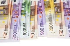 Montón de notas euro Foto de archivo libre de regalías