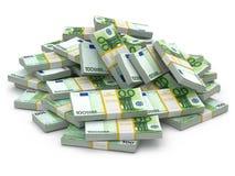 Montón de paquetes de euro. Porciones de dinero del efectivo. libre illustration