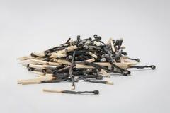 Montón de partidos quemados Imagen de archivo libre de regalías