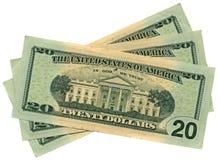 Montón de veinte dólares aislados, abundancia de los ahorros Imágenes de archivo libres de regalías